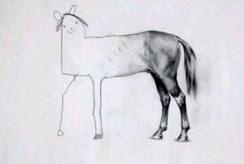 drawing of a horse with a details back end and stick figure front end, labeled 'When there is 5 minutes to go on your test'. used to illustrate the dicongruity of the term 'full-stack developer'. popularized in a tweet by @holtbt