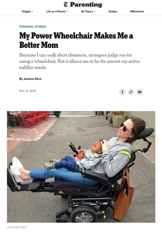 Screenshot of New York Times article by Jessica Slice showing masthead, article title, byline, and image of Ms Slice with her child in her lap